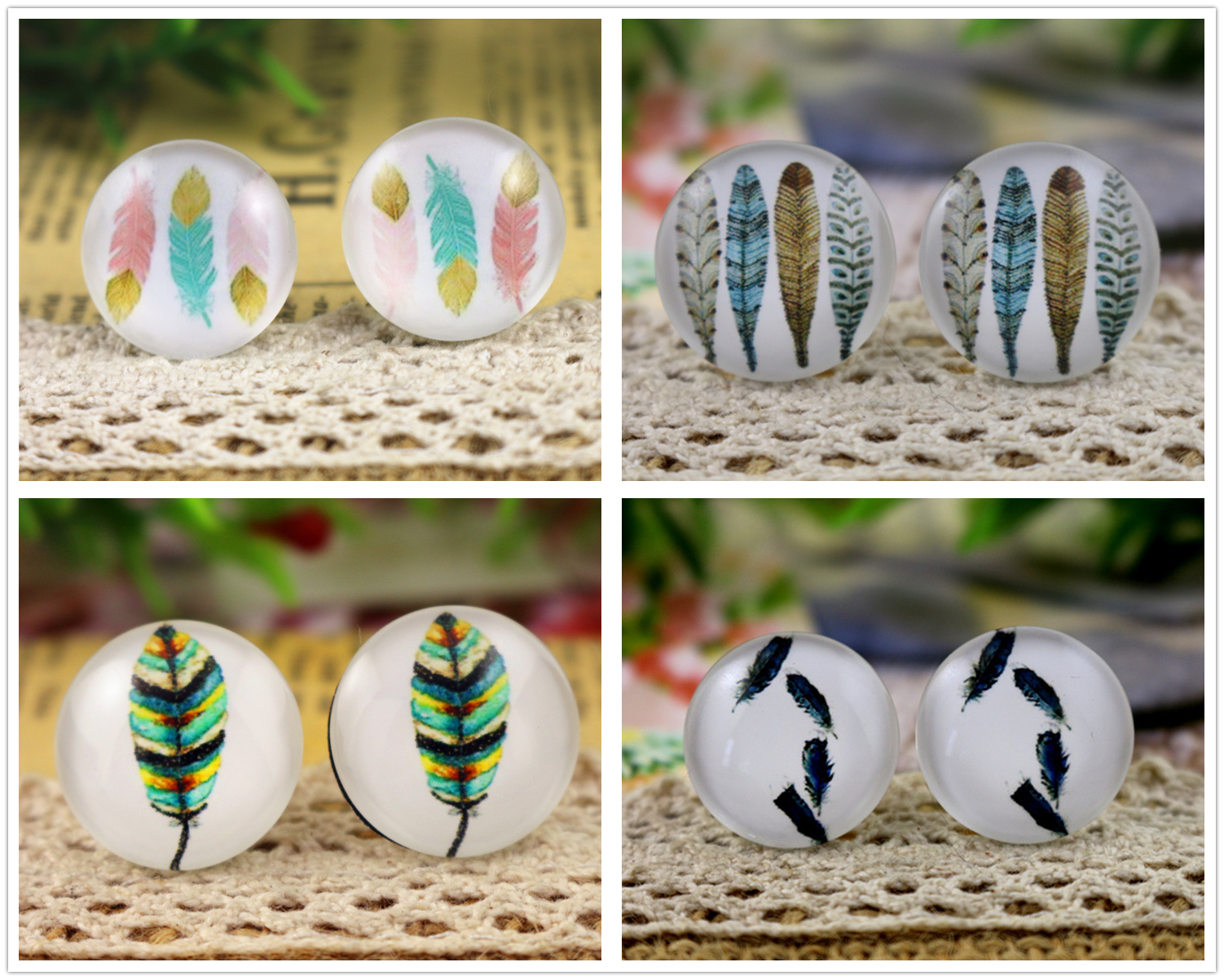 2018 Hot Sale 10pcs 20mm Feather wings Handmade Photo Glass Cabochons2018 Hot Sale 10pcs 20mm Feather wings Handmade Photo Glass Cabochons