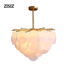 Nordic Postmodern Hanging Light Fixtures Luxury Simple Living Room Chandeliers Copper Art Bedroom Decoration LED Lamps