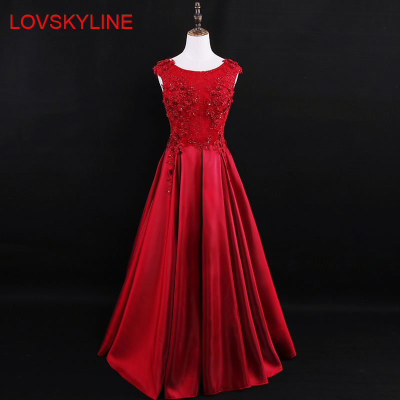 Red Beading Lace Backless A Line Long Satin   Evening     Dresses   2018 Embroidery Sleeveless Floor Length Formal   Evening     Dress
