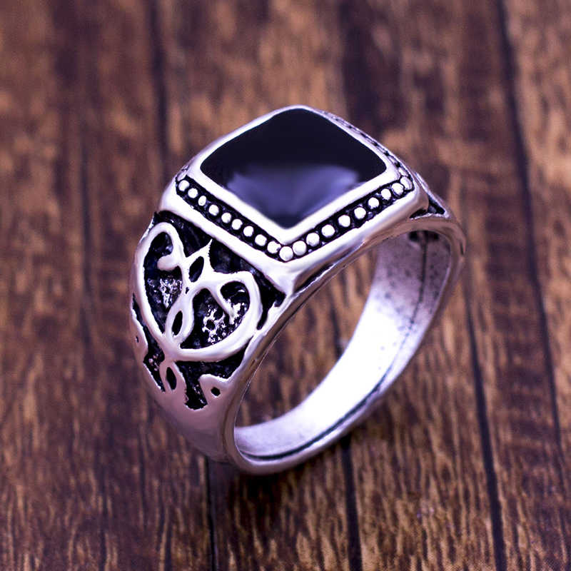 2018 hot selling classic men finger ring Plating ancient silver plated fashion jewelry black ring women