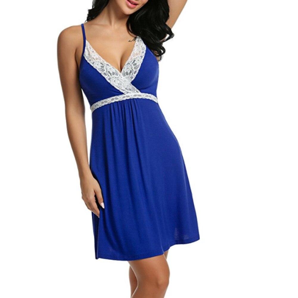 Summer Women's Sexy Lace Strap Dress V-neck Solid Color Lace Temptation Underwear Jumpsuit D6e