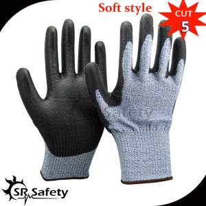 SRSafety 12 Pairs HPPE Anti cut gloves Cut-resistance gloves with PU on palm,cut level 5
