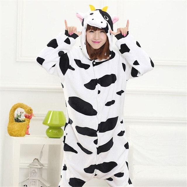 coulhunt 2017 adult milk cow pajamas unisex couples zipper hoodie pyjamas cartoon milk cow halloween party - Halloween Costume Cow