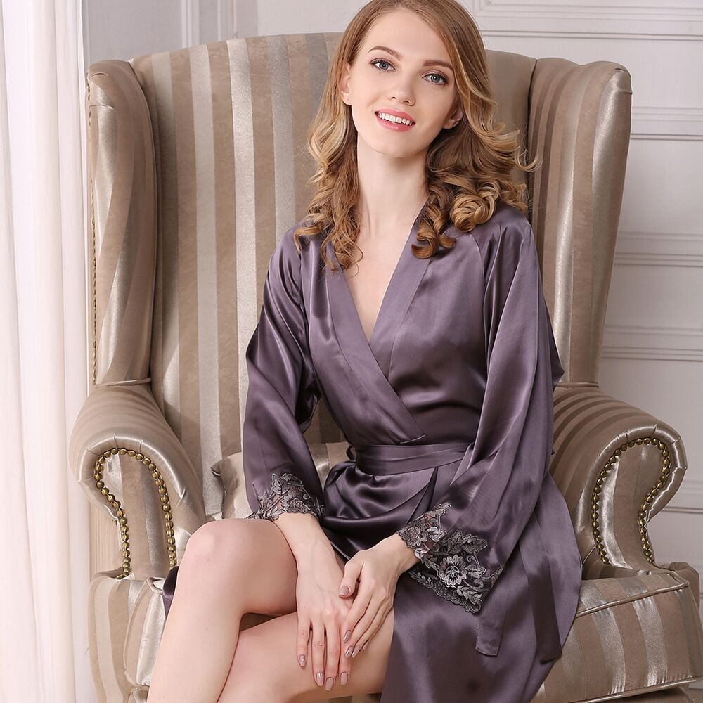 High-Grade 100% Real Silk Women Robe & Gown Sets Sexy Lace Two-Piece Home Suit Mulberry Silk Bathrobe + Nightdress Sleepwear