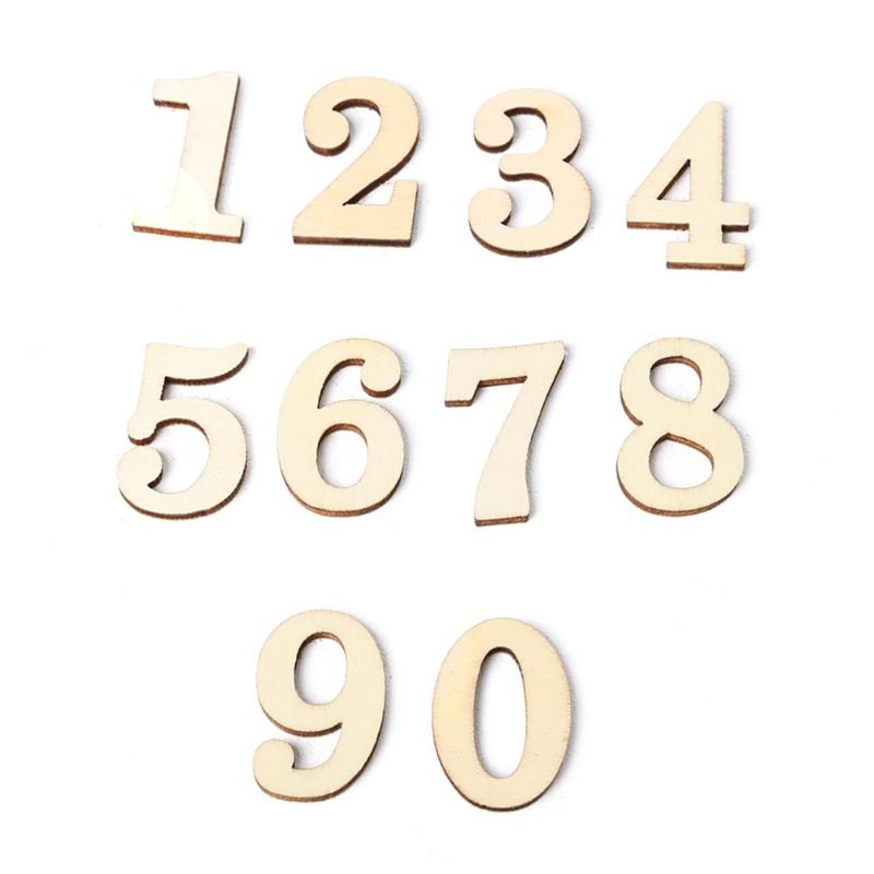 10pcs Rustic Wooden Digital Number DIY Craft Table Scatter Home Decoration