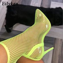 Eilyken Women Pointed Toe Mesh Holes Sandals Sexy Summer Shoes Breathable Cool Spring OL Party High