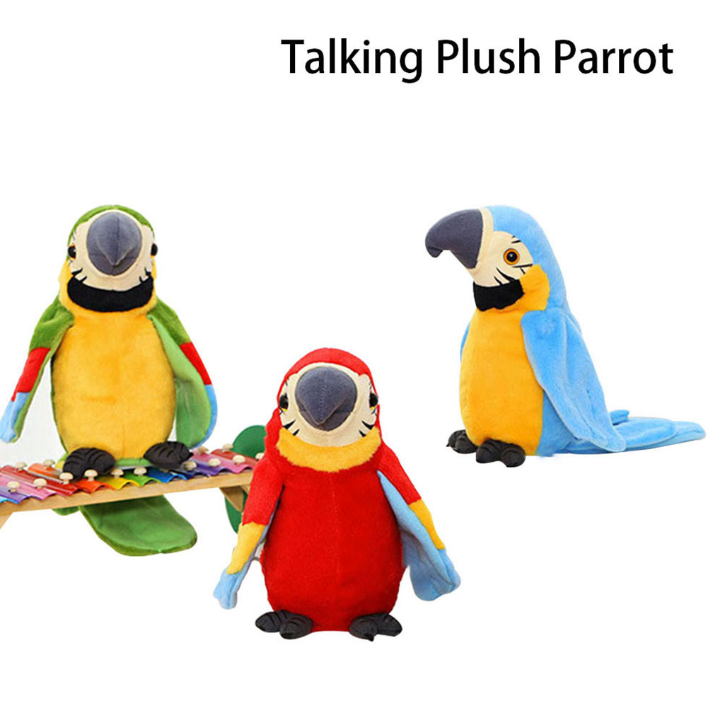Novelty Funny Plush Parrot Talking Repeat Waving Wings Interactive Kids Toy