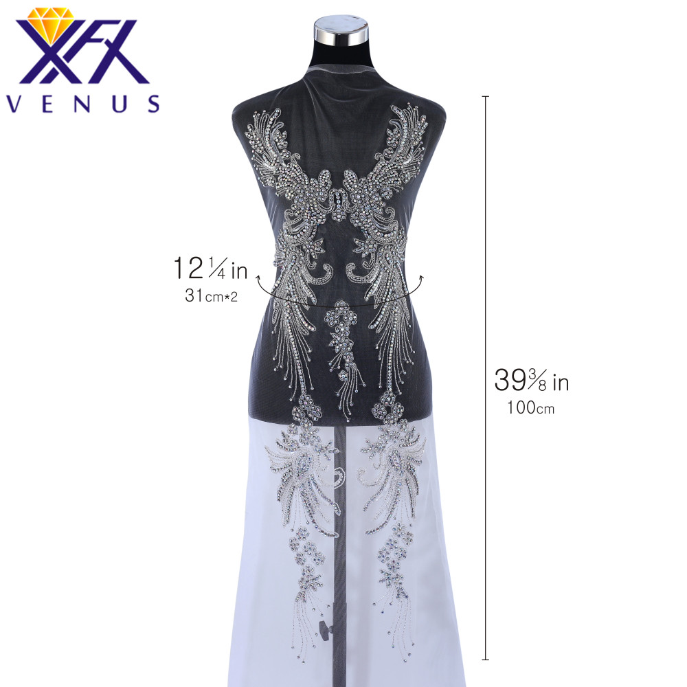 XINGFANGXIU Rhinestones Sequins Beads Applique Crystals Decorative Patches Bridal Solid Long Trim Patch for Evening Prom Dress