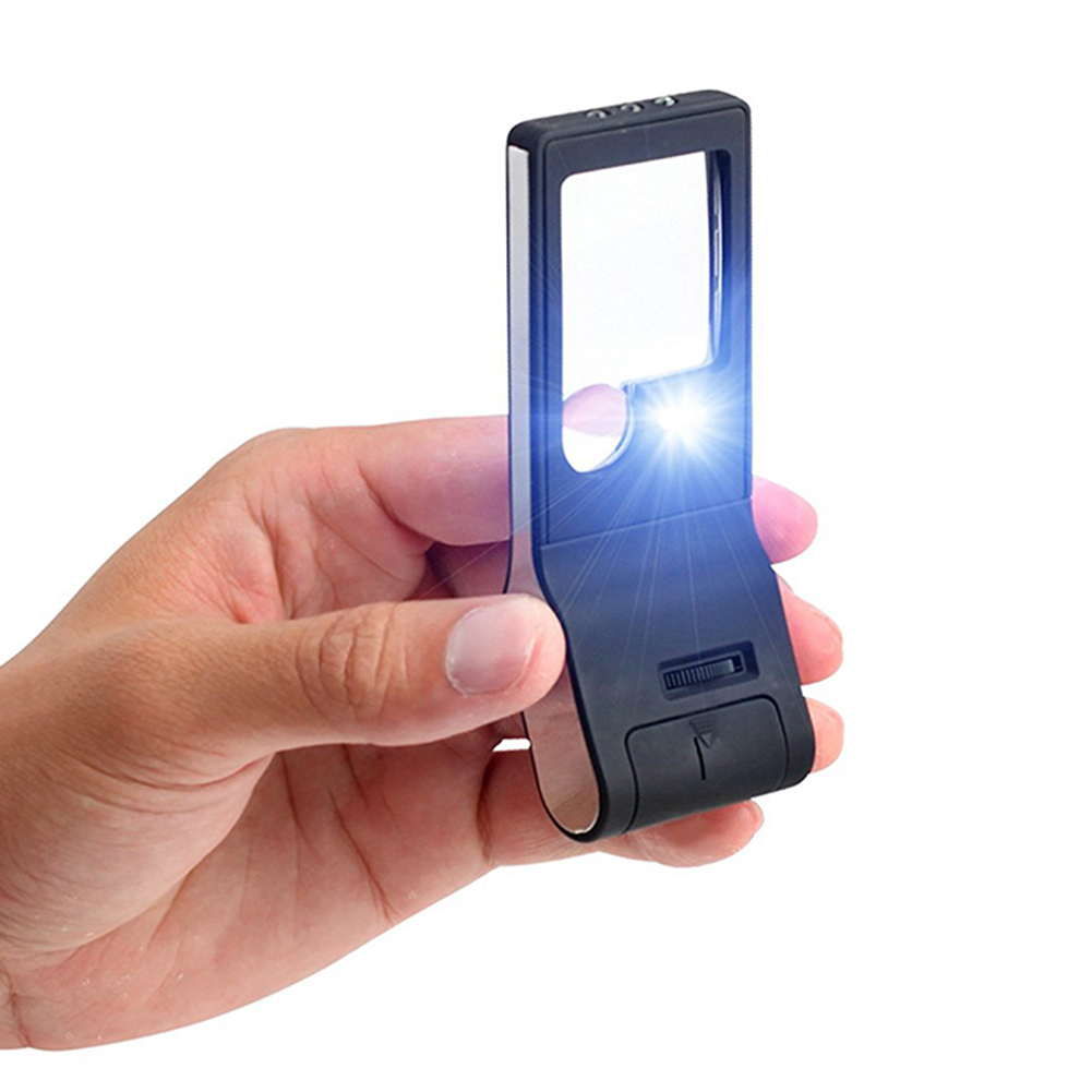 Multi-Function Portable 3X 10X 55X Magnifying Glass With 6 LED Lights And Money Detector ...