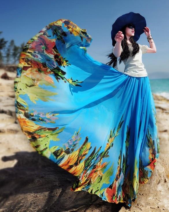 Летняя женская синяя шифоновая юбка с цветочным принтом богемные Напольные Длинные юбки - Цвет: Синий