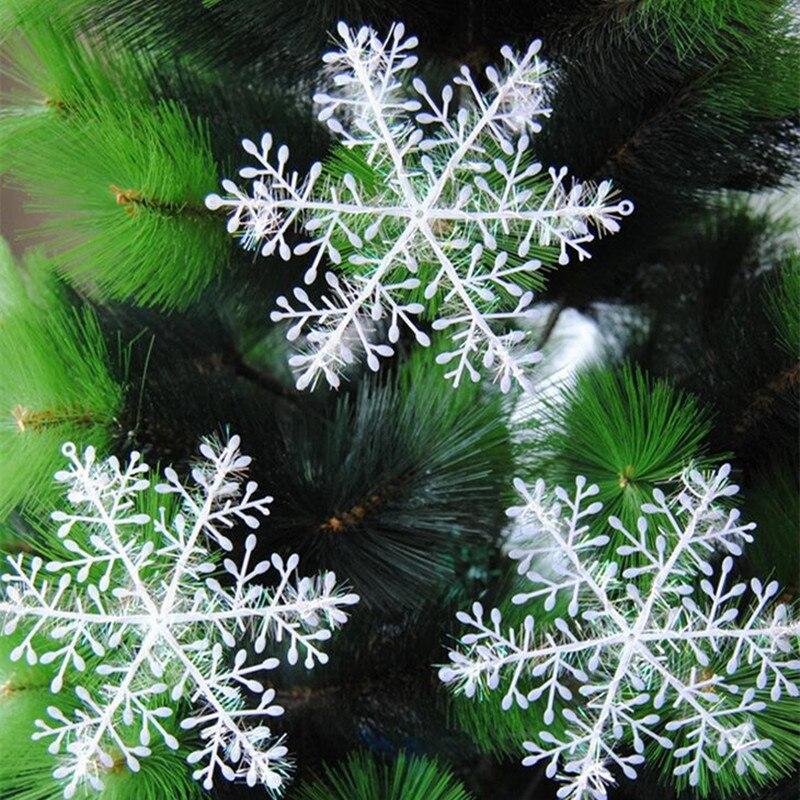 unidslote blanco de plstico copos de nieve del rbol de navidad adornos adornos
