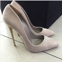 New Fashion ETOUPE Sexy Pointed Toe High Heels Woman Suede Leather Grey Suede Stiletto Heels Office