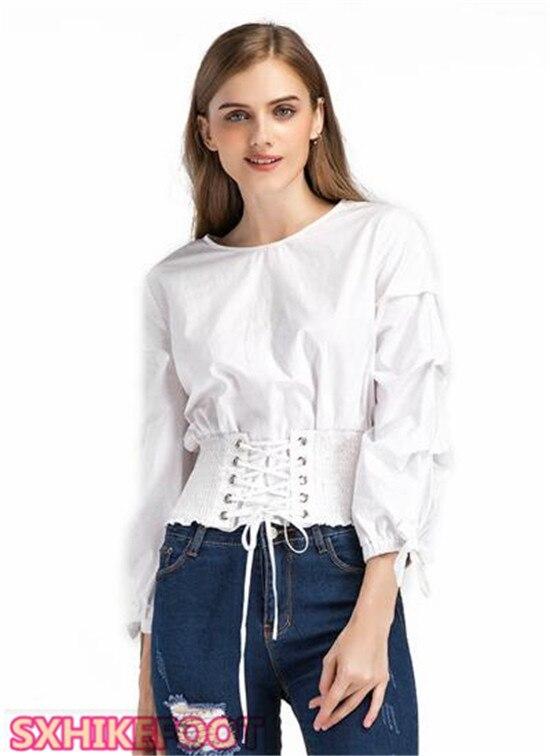 Sxhikefoot Hot Sale!! Explosion Models Waist Bandage Round Neck Shirt Tops Women's Clothing