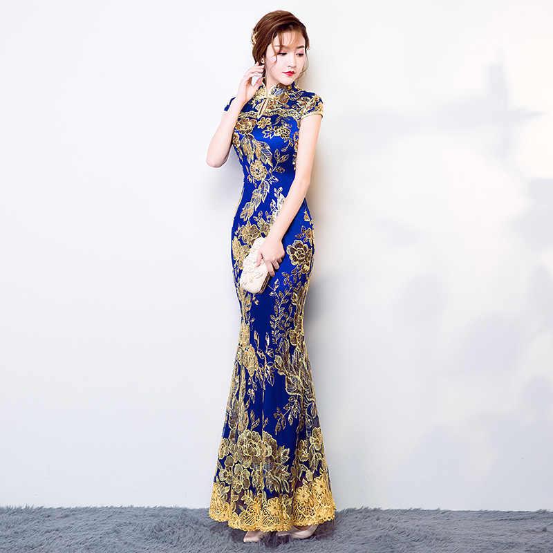 Mavi düğün parti Cheongsam oryantal akşam elbise çince geleneksel bayan zarif Qipao seksi dantel uzun elbise Retro Vestido