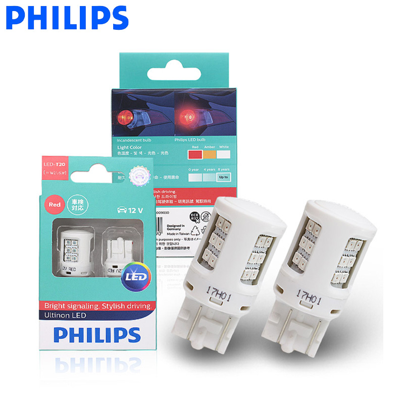 Philips Parking-Lamps Stop-Light Bulbs-Pair T20 7443 Car-Turn-Signal W21/5W Red-Color