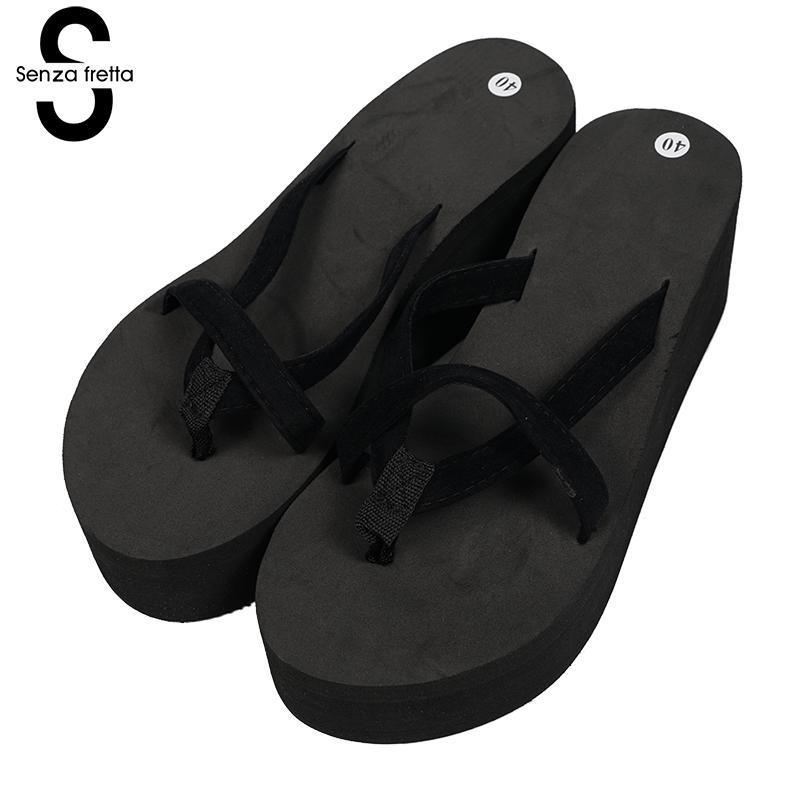 Senza Fretta Hot Woman Flip Flops Shoes Pink Black Wedge Platform Flip Flops High Heels Beach Sandals Ladies Thick Slippers senza fretta women shoes bohemia slippers flowers flip flops women poe platform wedge flip flops outdoor beach flip flops shoes