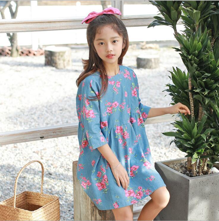 Teenage Girls Clothing 2019 New Kids Denim Dresses Korea Girls Par