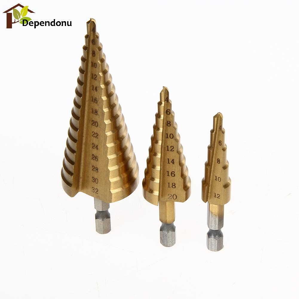 3pcs Professional HSS Steel Large Step Cone Hex Shank Coated Metal Drill Bit for Metal Cut Tool Set 4-12/20/32mm Hole Cutter 15 pieces titanium coated hss twist drill bit set with 1 4 hex shank for wood metal power tool 3 0 5 0mm black hemp screw drill