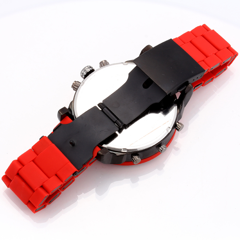 dz dz7370 red quartz watch for men sports watches dual time zones calendar military mens watches free shipping (13)