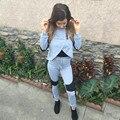 S-XL Women 2017 Autumn Winter Style Grey Patchwork Suit 2 Piece Outfits Zipper Pants Womens Clothing Set AB086