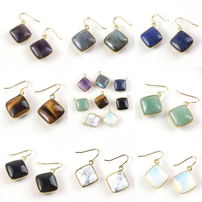 xinshangmie Purple Amethysts Cushion Shape Gold Color Lapis Lazuli Rhombus Cabochon Fashion Earrings Jewelry