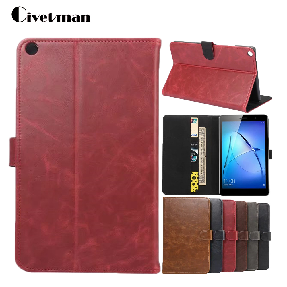 Civetman high quality leather Case for Huawei MediaPad T3 8.0 KOB-L09 KOB-W09 Tablet Stand Cases for Honor 8.0 Cover Magnetic cover case for huawei mediapad m3 youth lite 8 cpn w09 cpn al00 8 tablet protective cover skin free stylus free film