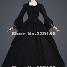 Горячая Распродажа черные винтажные длинные расклешенные рукава кружева 17 18 век готические Бальные платья в викторианском стиле/викторианская Южная красавица Платье