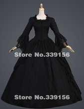 2016 Hot Sale Black Vintage Long Flare Sleeve Lace 17th 18th Century Gothic Victorian Ball Gowns/Victorian Southern Belle Dress