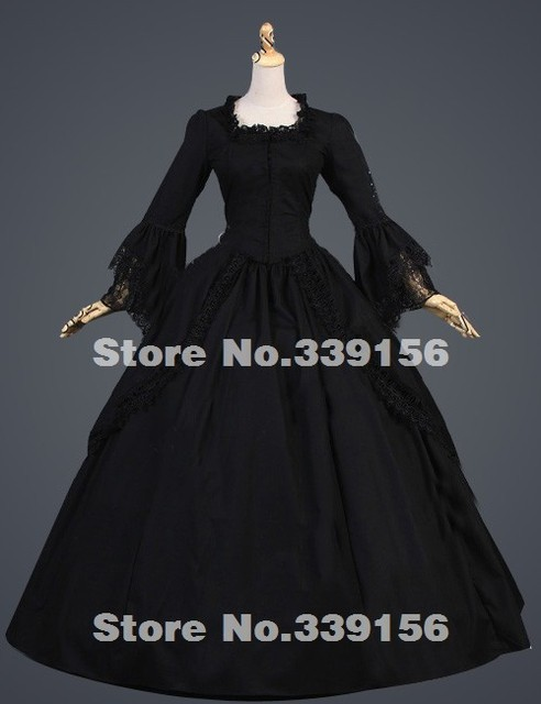 2016 Hot Sale Black Vintage Long Flare Sleeve Lace 17th 18th Century Gothic  Victorian Ball Gowns Victorian Southern Belle Dress 27193f537553
