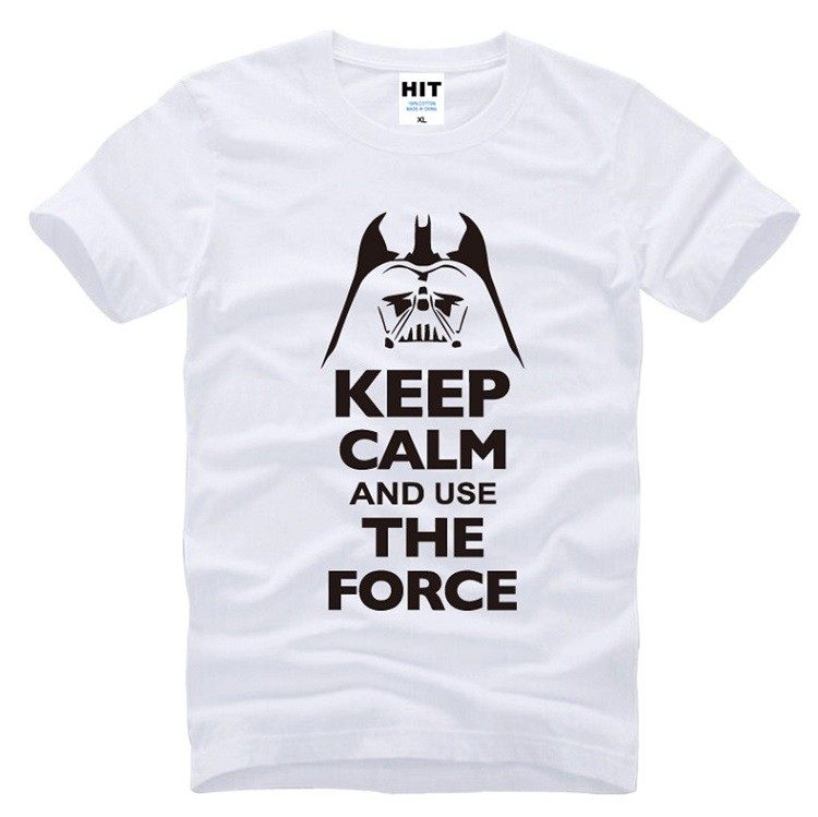 white and black tshirt keep calm and use the force star wars tshirt