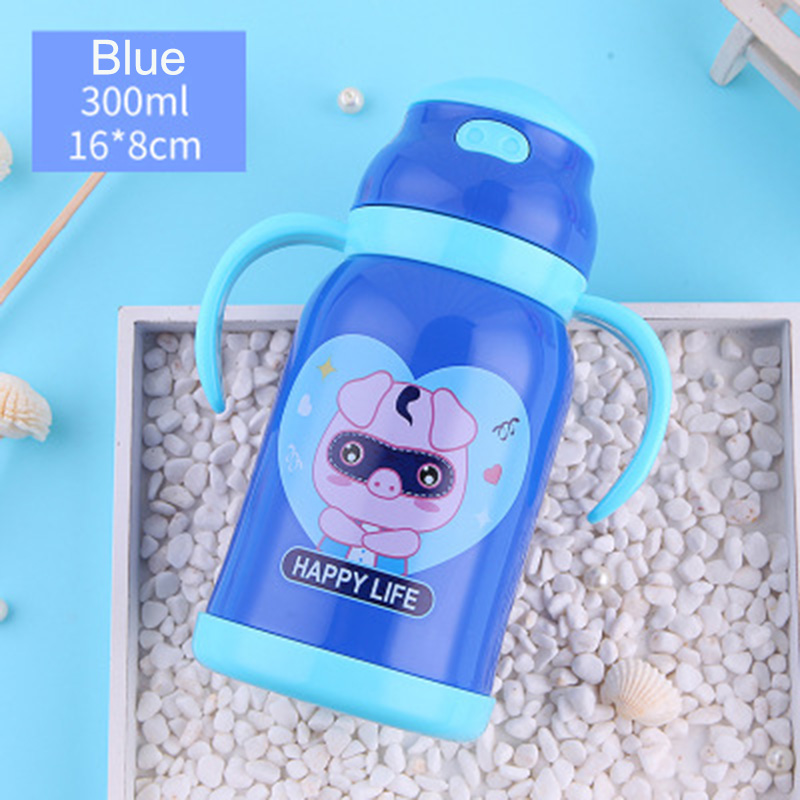 380ml pig Thermos Kids Thermo Mug soft silicone Straw Insulated 380mlDrink Water Bottle kart Vacuum Flask belt handle Tumbler