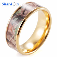 Titanium Beveled His Hers Camo Real Oak Gold Plated TITANIUM Wedding Bands Rings Hunting Army Camouflage