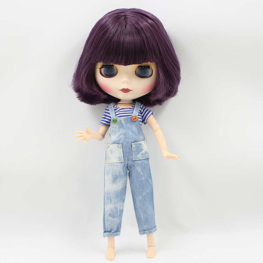Neo Blythe Doll with Purple Hair, White Skin, Matte Face & Jointed Body 1
