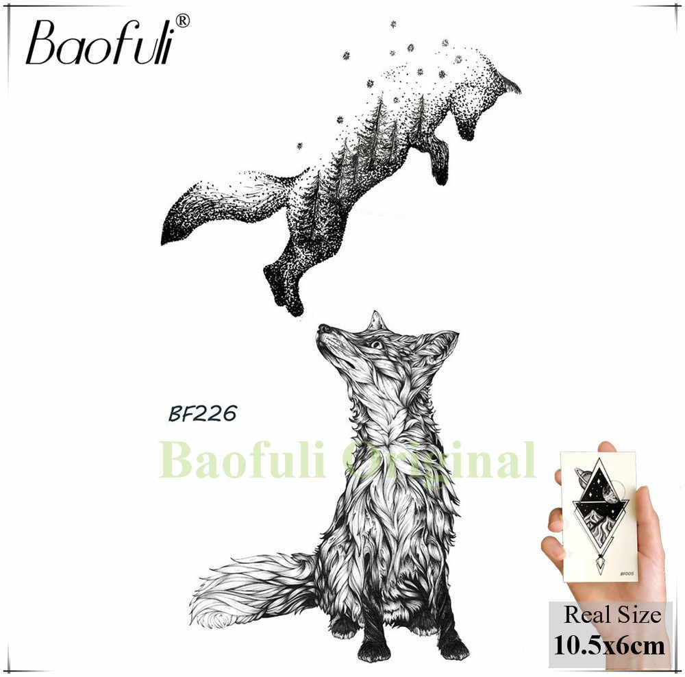BAOFULI Women Black Temporary Tattoo Stickers Fox Plant Flower Feather Watertransfer Fake Tatoos Geometry Body Art Tattoo Decal