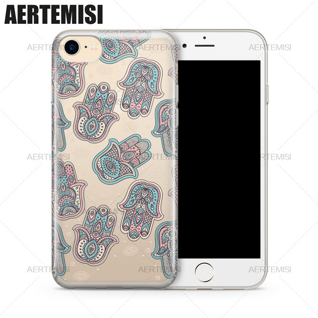 Aertemisi Phone Cases Buddha Indian Hand Hamsa Symbol Clear Tpu Case