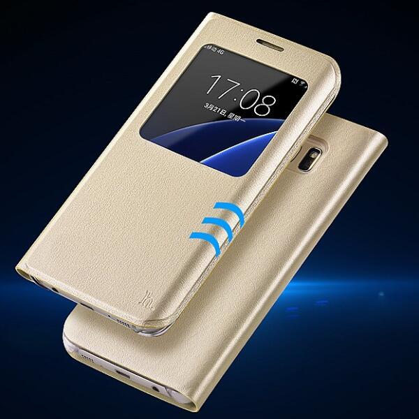 S7 edge Smart Front Window View Phone Case Lyxigt läderfodral för - Reservdelar och tillbehör för mobiltelefoner