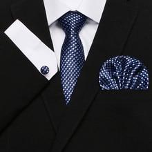 Mens Ties Fshion Plaid Hanky Handkerchief Cufflinks Striped