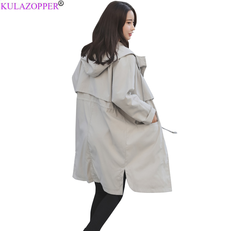 KULAZOPPER 2019 Autumn New Women's Casual   trench   coat oversize Zipper Hooded Vintage Washed Outwear Loose Female Clothing YL129