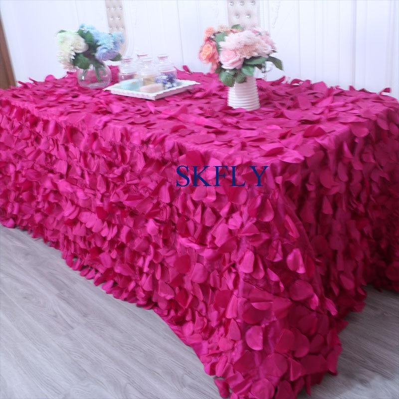 Beminnelijk Cl018d Gorgeous Fancy Elegant Wedding 6ft Rechthoek Hot Pink Fuchsia Bloemblaadje Taffeta Tafelkleed Versterkende Taille En Pezen