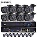 Hobovisin kit 8ch cctv sistema de câmera ip kit 48 v poe 8ch 1080 p nvr + 8 pcs 1080 p poe ip camera kit de vigilância à prova d' água