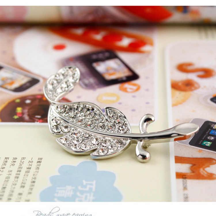 Versi Korea dari Berlian Imitasi Daun Bros Bulu Pin Pria dan Wanita Bisa Memakai Bros Kustom Perhiasan Bros untuk Seperti Mulheres pin