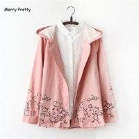Autumn Winter New Women Pink Jacket Japanese Style Mori Girl Cartoon Print Long Sleeve Hooded Casual