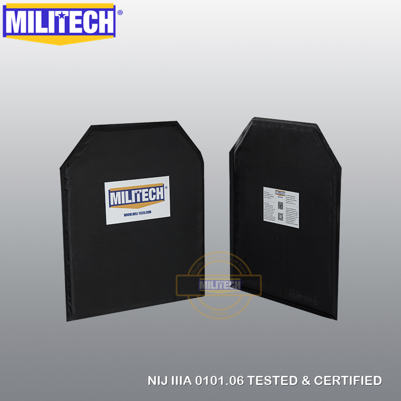 MILITECH Bulletproof Plate 10x12 Shooters Cut NIJ 0101.06 3A NIJ 0115.00 Level 2 Stab Resistant Aramid Soft Ballistic Panel Pair