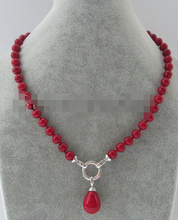 Huij 004906 8mm de color rojo coral mar del sur shell collar de perlas + pendiente de concha