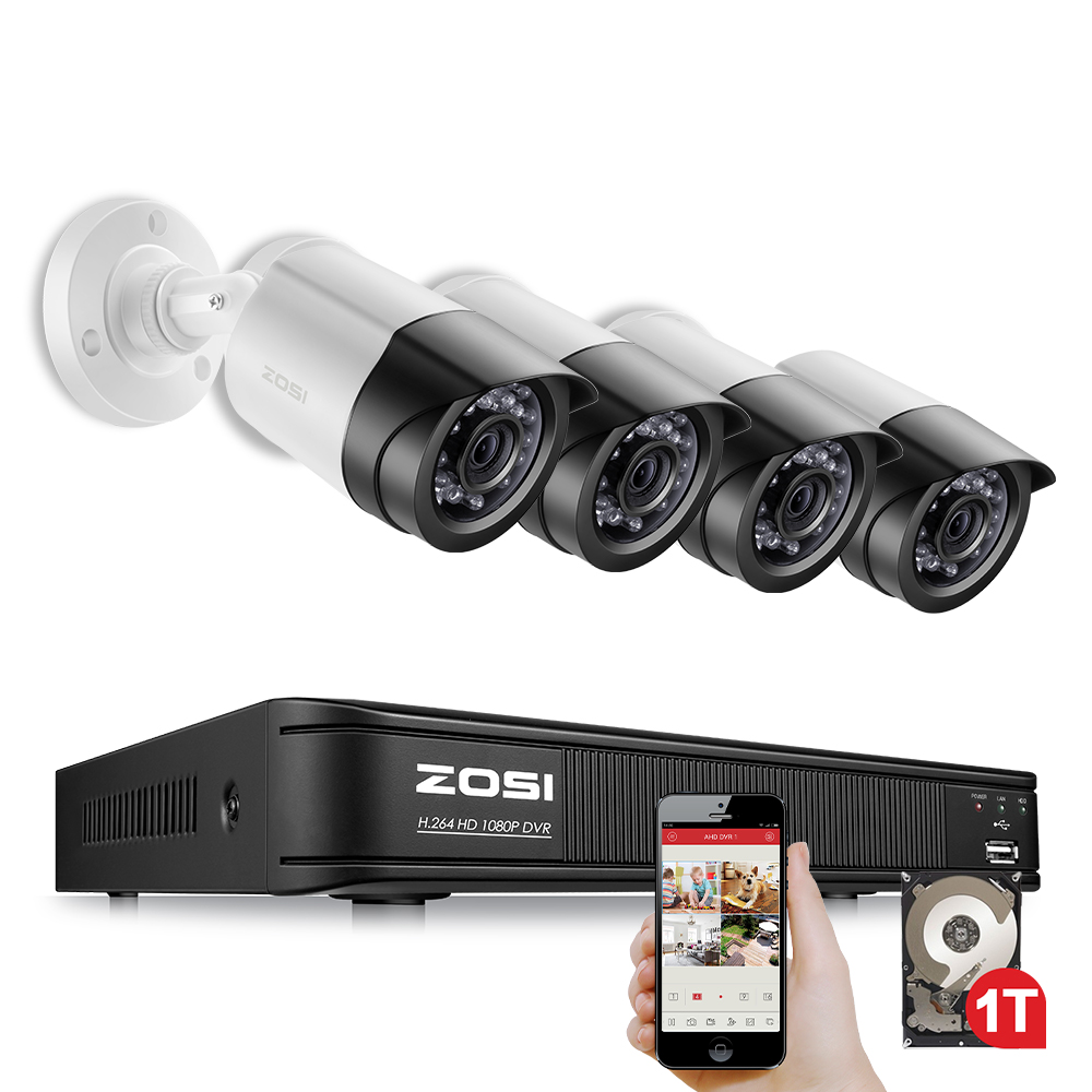 ZOSI 4CH CCTV System 1080P TVI 4CH CCTV DVR with 4PCS 2.0MP CCD Security Camera 1920*1080 CCTV Camera Surveillance System vga 4ch color cctv security camera quad processor remote control