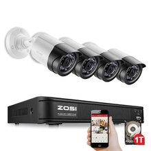 ZOSI 4CH CCTV системы 1080 P TVI 4CH DVR с 4 шт. 2.0MP камера скрытого наблюдения CCD 1920*1080 кабель для камеры CCTV