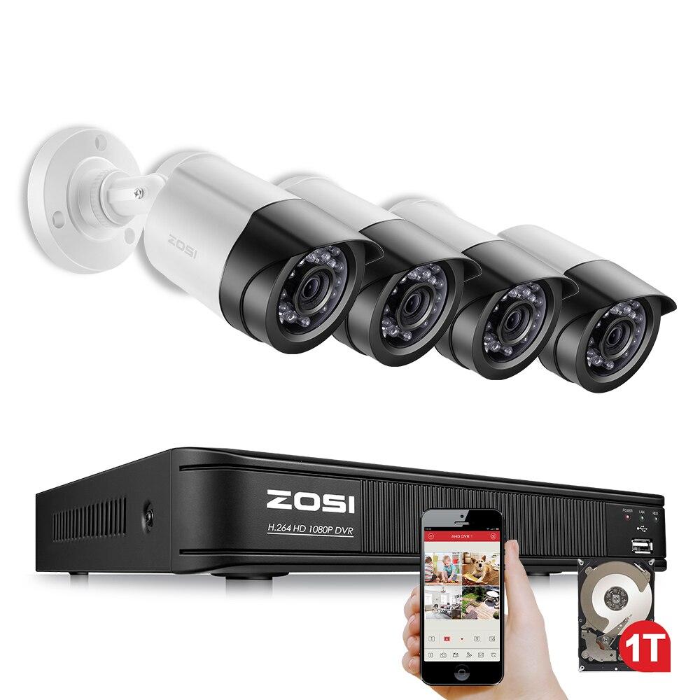ZOSI 4CH système CCTV 1080 P TVI 4CH CCTV DVR avec 4 pièces 2.0MP CCD caméra de sécurité 1920*1080 caméra CCTV Surveillance système