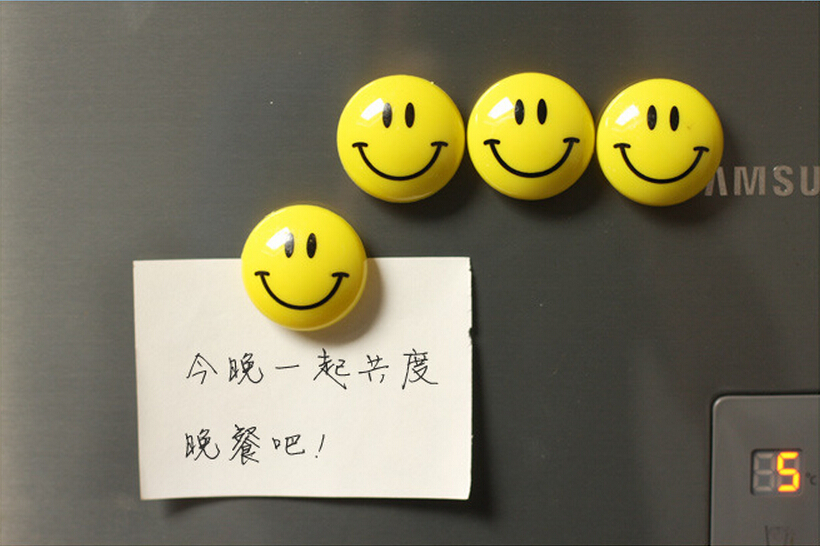 New Arrivals Cute Cartoon Yellow Smile Smiley Face Novelty Fridge Whiteboard Magnets Kawaii Decorative Magnetic Sticker TZ033(China)