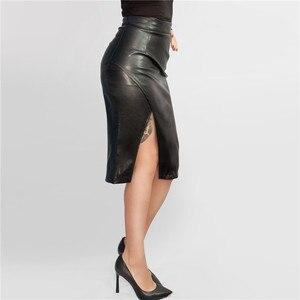 Image 2 - 新 2019 の女性のミディスカート Pu レザー黒ハイウエスト非対称セクシーなスリットペンシルスカートボディコンエレガント Femininas SK8673
