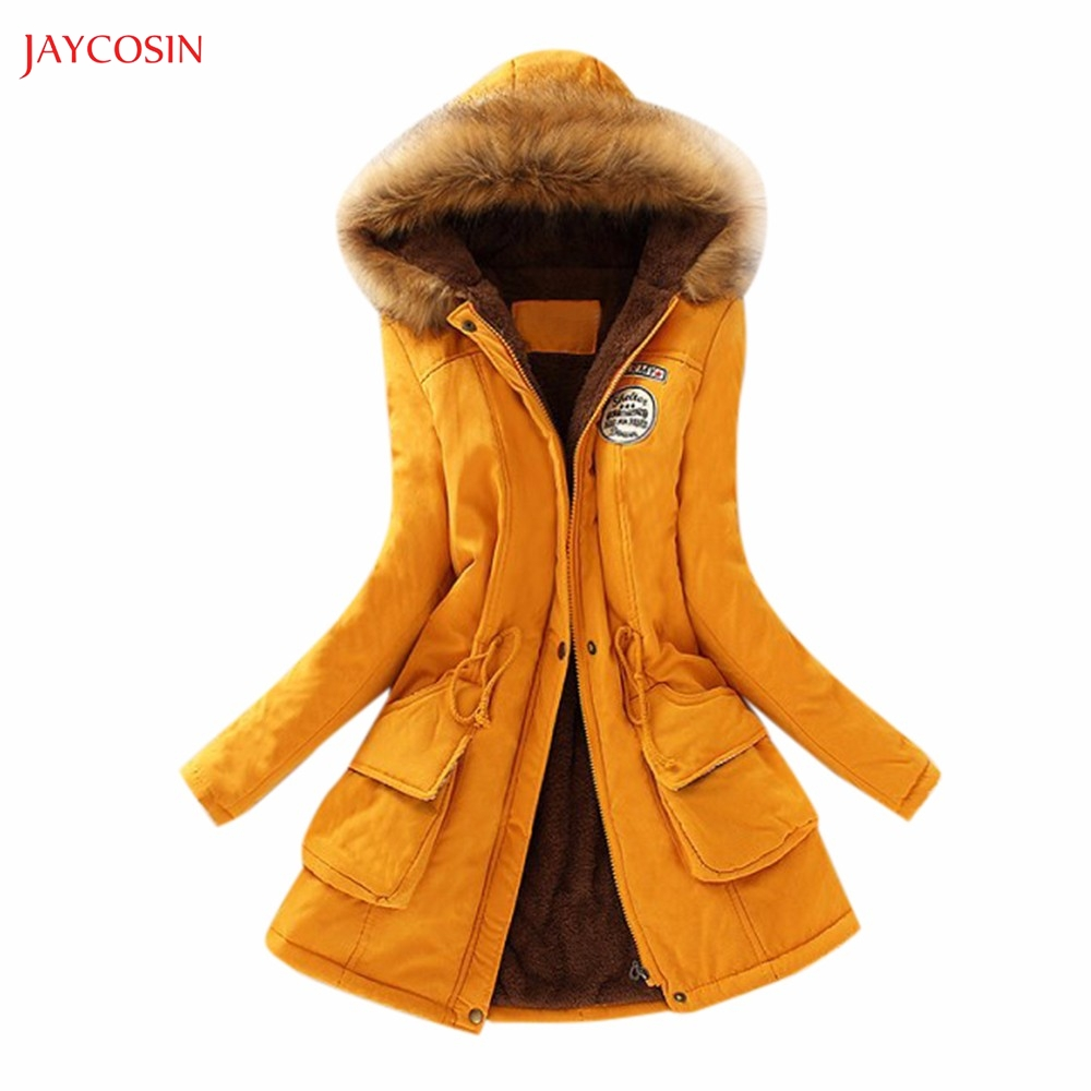 Jaycosin Clothes Winter Coat Women Fur Collar Hooded Jacket Girls Medium Long Section Female Winter Fashion   Parka   Cotton Outwear